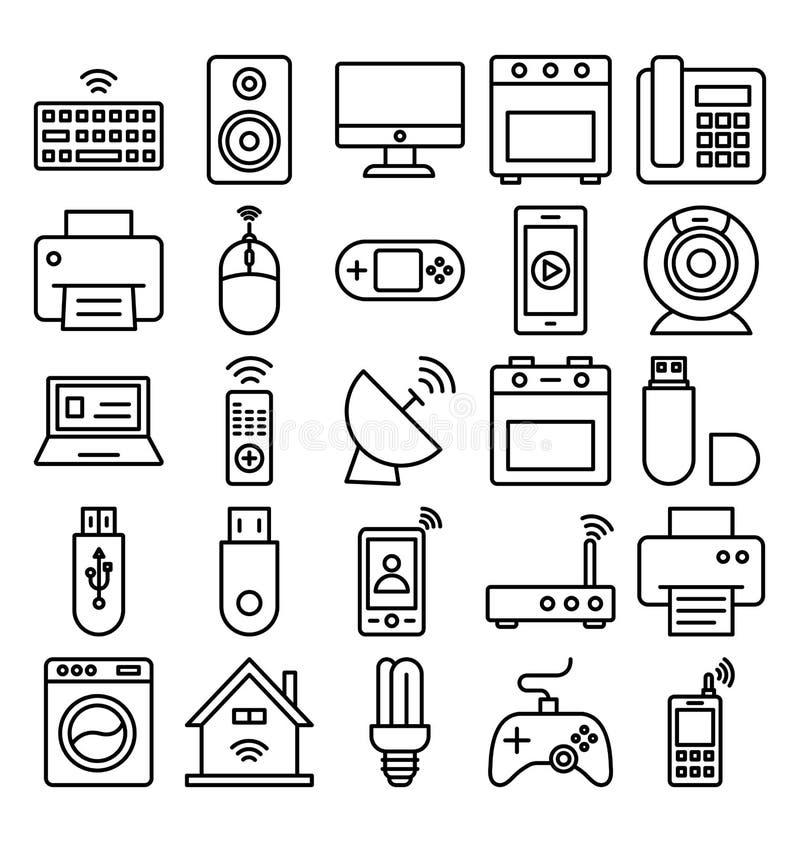 Электроника и приборы изолировали значки вектора установили которые могут легко доработать электронику o и приборы изолировали зн иллюстрация штока