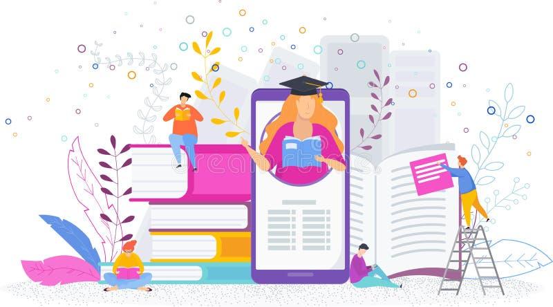 Электронная и классическая библиотека концепции Крошечные люди прочитали книги иллюстрация вектора
