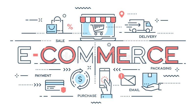 Электронная коммерция, онлайн покупки, розница, продажа, обслуживание поставки утончает иллюстрация штока
