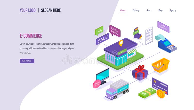Электронная коммерция, онлайн ходить по магазинам, цифровой маркетинг, онлайн магазин, доставка, рынок акций иллюстрация вектора