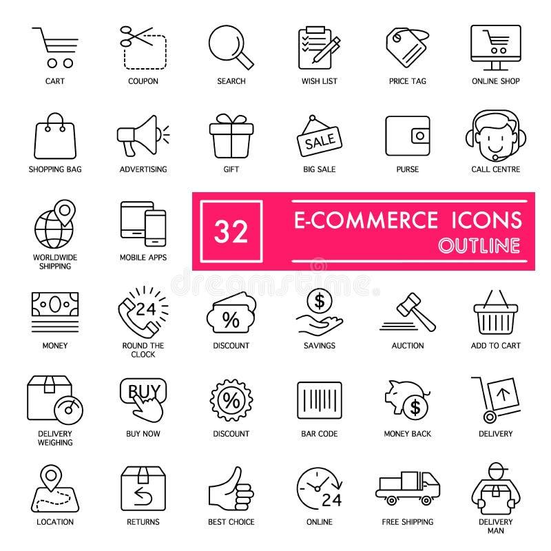 Электронная коммерция с линией комплектом надписи значка, символами собранием магазина, эскизами вектора, иллюстрациями логотипа, иллюстрация вектора