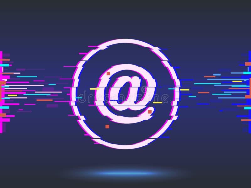 электронная почта дизайн небольшого затруднения, неоновый значок, абстрактная предпосылка вектор иллюстрация штока
