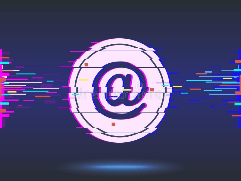 электронная почта дизайн небольшого затруднения, неоновый значок, абстрактная предпосылка вектор иллюстрация вектора