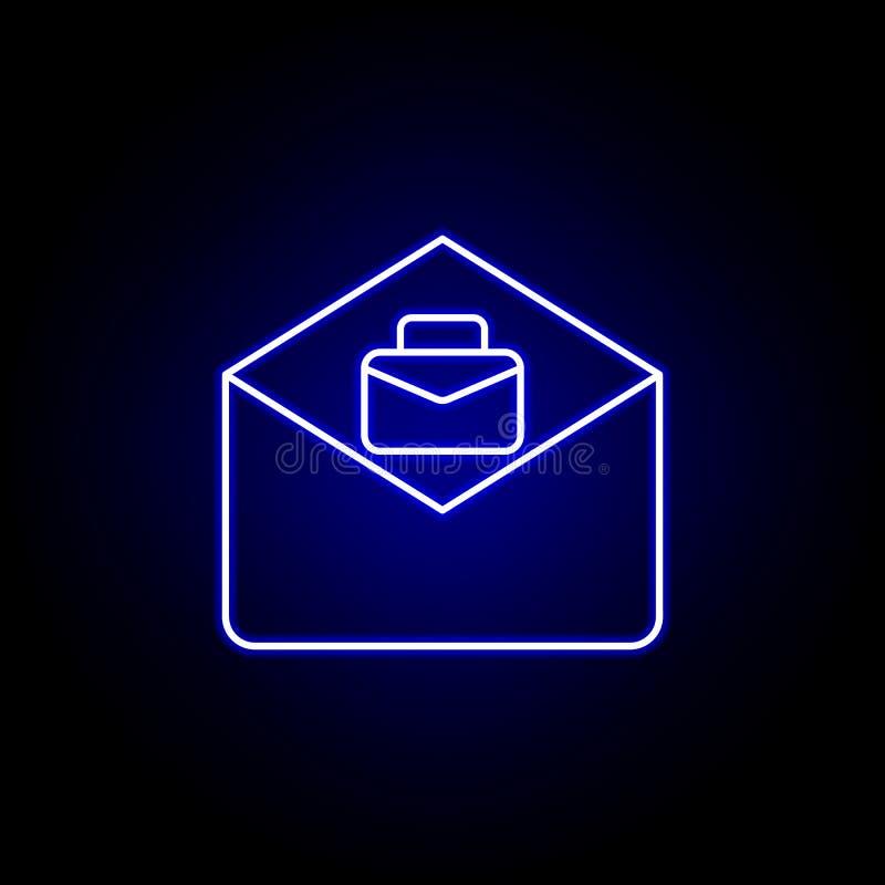 Электронная почта, значок работы Элементы иллюстрации человеческих ресурсов в неоновом значке стиля E иллюстрация штока