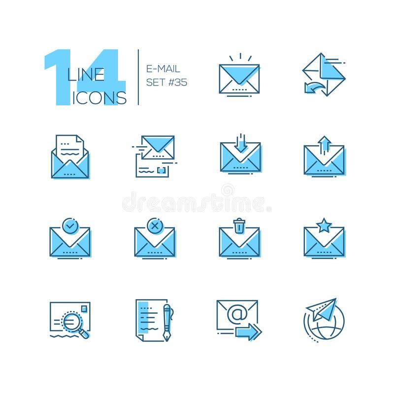 Электронная почта - комплект линии значков стиля дизайна бесплатная иллюстрация