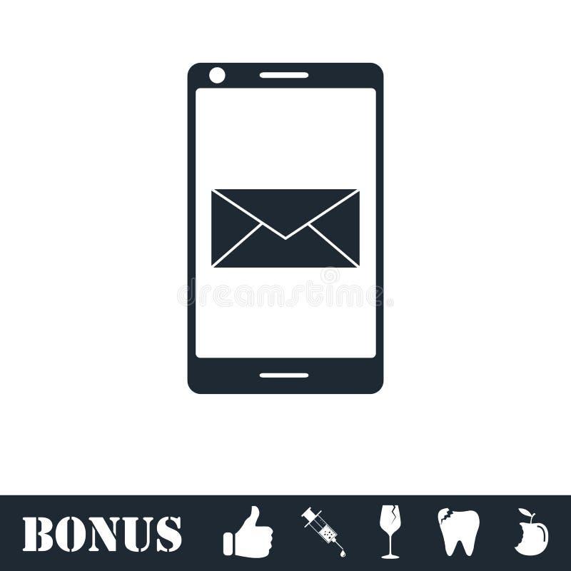 Электронная почта смартфона или значок sms плоско иллюстрация вектора