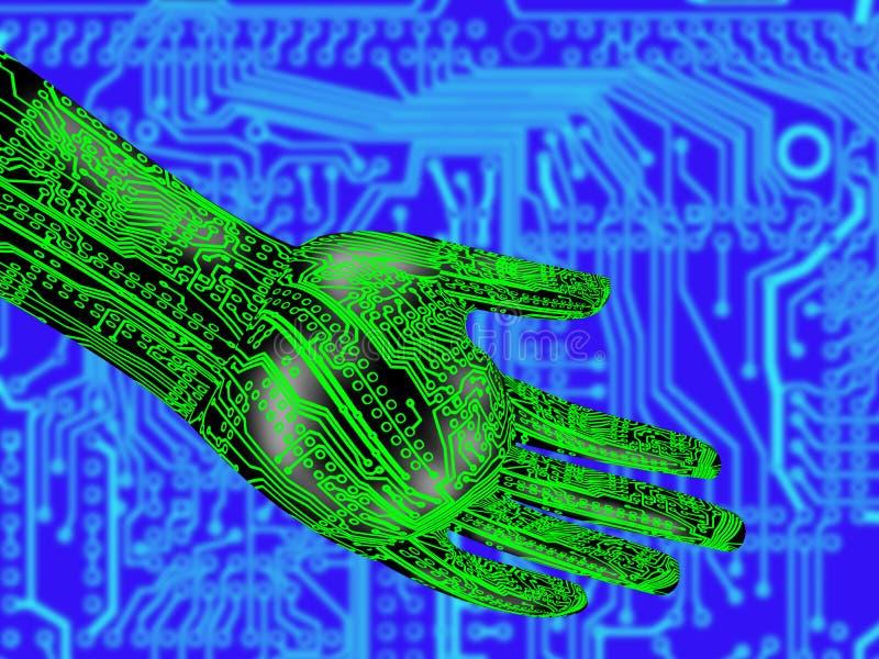 Электронная рука держа просвечивающий глобус стоковые фотографии rf