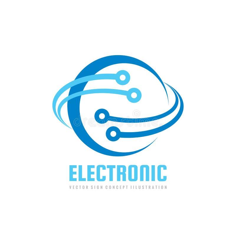 Электронная технология - vector шаблон логотипа для фирменного стиля Абстрактная глобальная вычислительная сеть, иллюстрация конц иллюстрация вектора