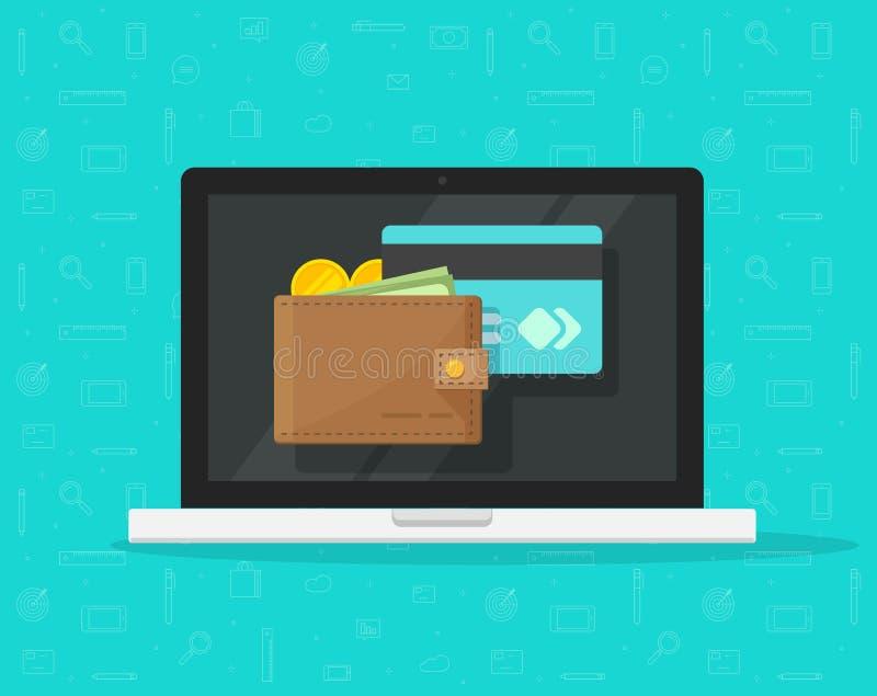 Электронный бумажник на значке вектора ноутбука, плоский экран настольного ПК дизайна с цифровым бумажником денег и кредит иллюстрация вектора