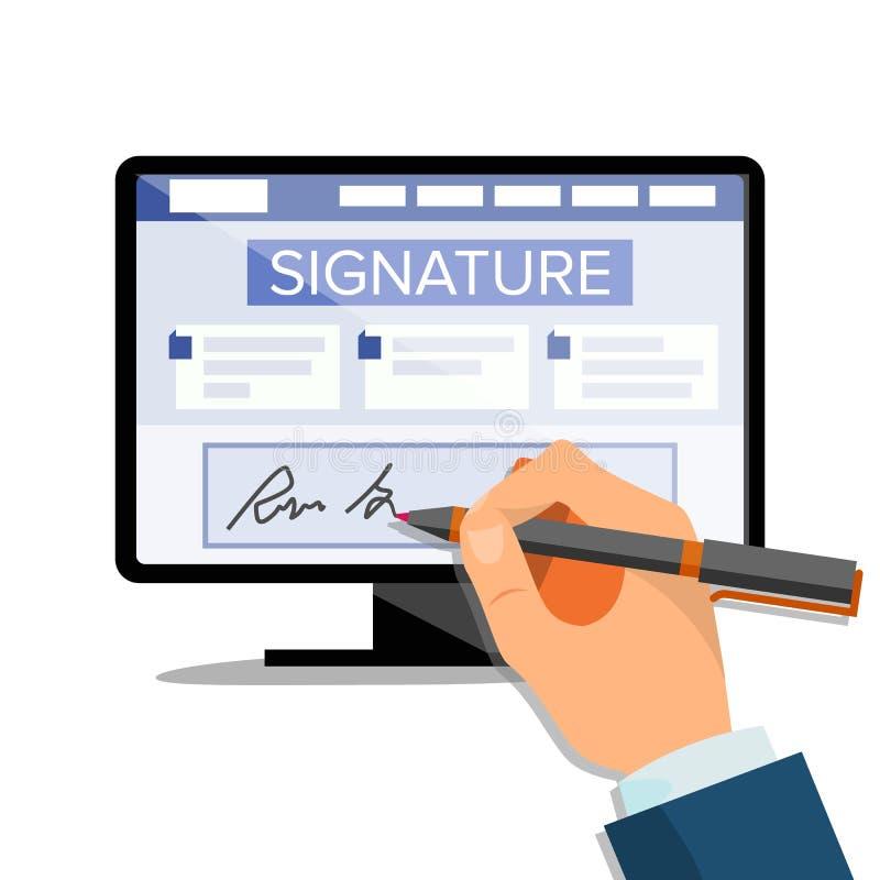 Электронный вектор подписи Документ цифров финансов Электронный контракт Компьютер Руки бизнесмена плоско иллюстрация вектора