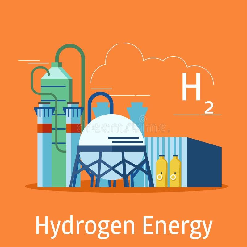 Электростанция водопода на оранжевой предпосылке Концепция источников энергии водопода также вектор иллюстрации притяжки corel иллюстрация вектора