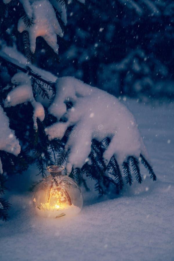 Электрофонарь рождества под деревом в лесе Snowy леса стоковое изображение