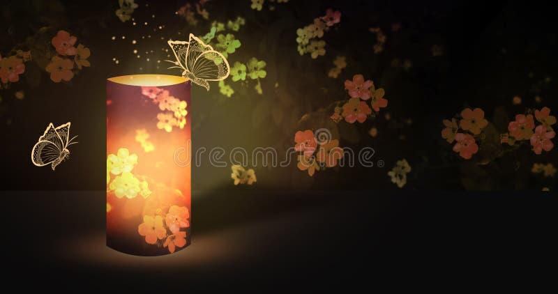 Электрофонарь романтичный в саде ночи зацветая с волшебным сиянием иллюстрация штока