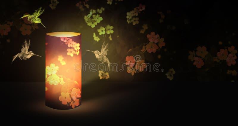 Электрофонарь романтичный в саде ночи зацветая с волшебным сиянием иллюстрация вектора