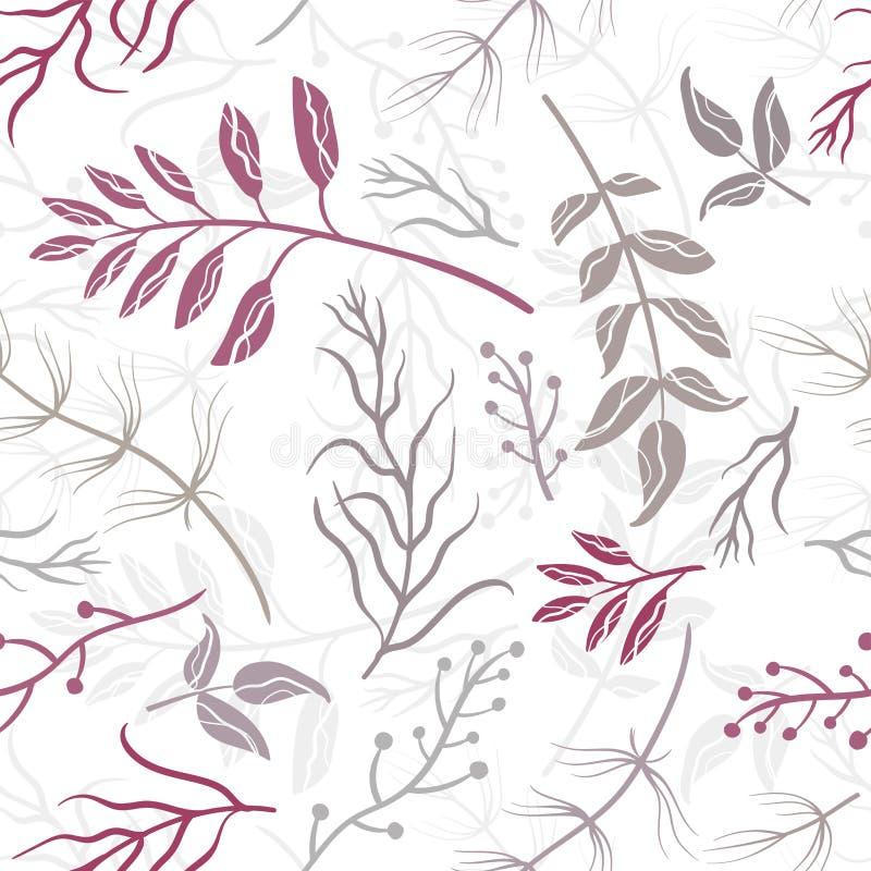 Элементов ветви руки картина вычерченных безшовная, предпосылка милого эскиза флористическая в пурпурном, фиолетовом коричневом ц бесплатная иллюстрация