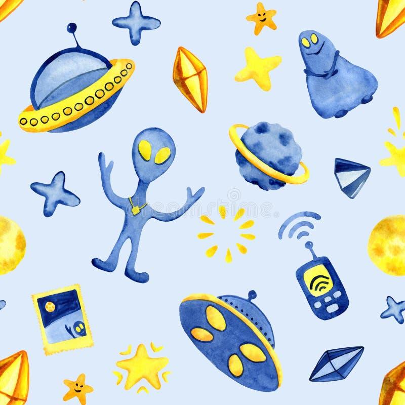 Элементов космоса руки картина вычерченных безшовная Иллюстрация и предпосылка акварели космоса Ракеты космоса мультфильма, плане иллюстрация вектора