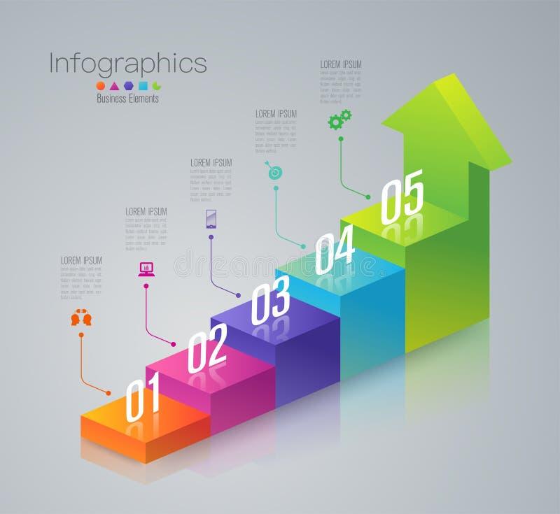 5 элементов лестницы дела шагов infographic иллюстрация штока