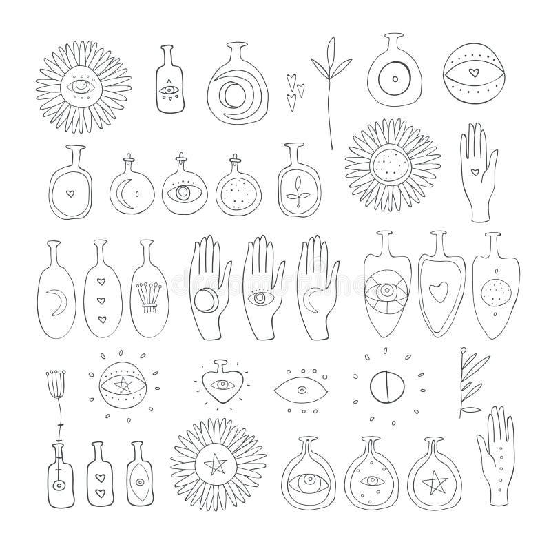 Элементы вектора набора символов вычерченного мистика руки эзотерические духовные волшебные священные иллюстрация штока