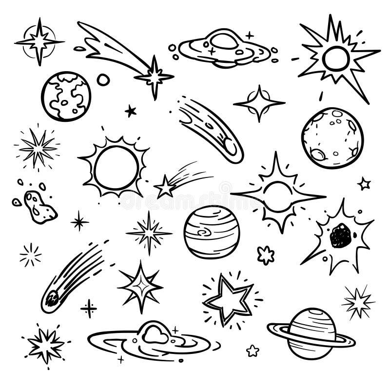 Элементы вектора doodle космоса Вручите вычерченные звезды, кометы, планеты и луну в небе иллюстрация штока