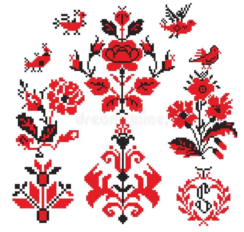 элементы вышивают ukrainian иллюстрация вектора