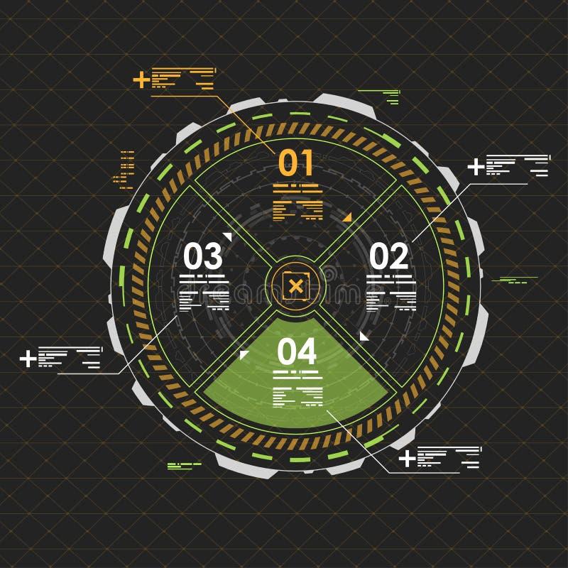 Элементы графика информации Футуристический пользовательский интерфейс HUD иллюстрация вектора