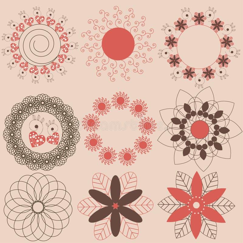 элементы декора флористические иллюстрация вектора