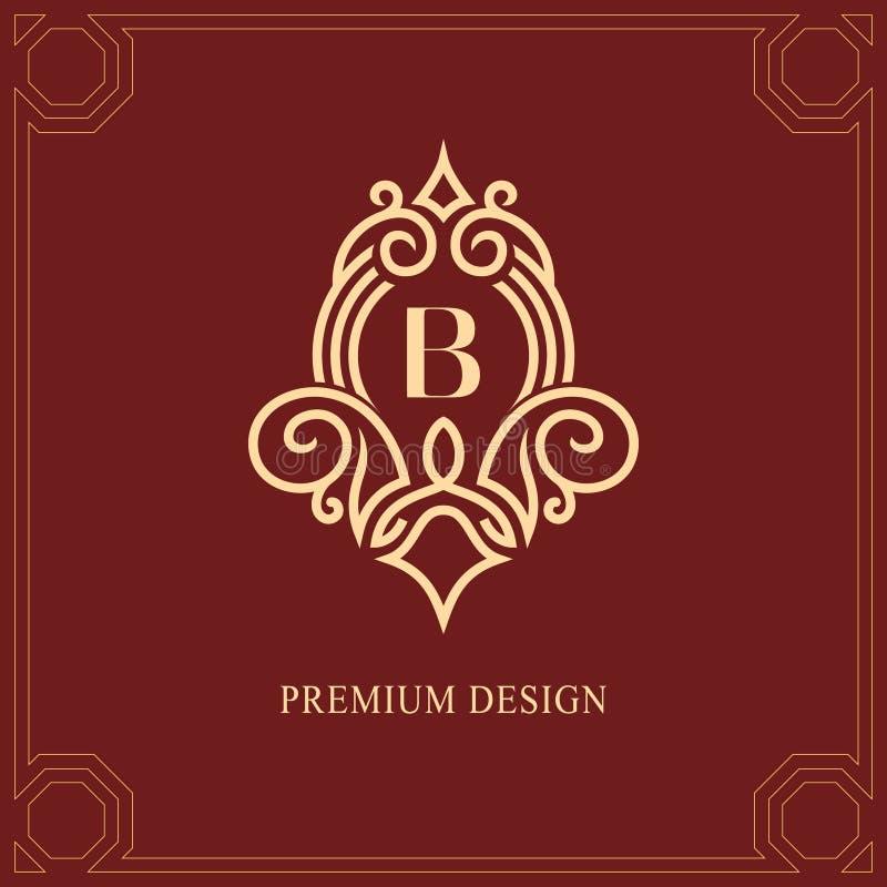 Элементы дизайна вензеля, грациозно шаблон Каллиграфическая элегантная линия дизайн логотипа искусства Знак b эмблемы прописной б иллюстрация штока