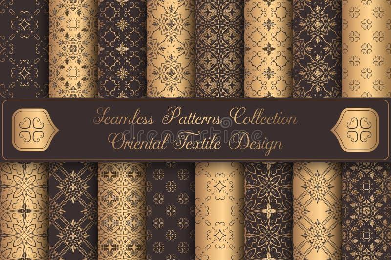 Элементы дизайна винтажных картин предпосылок роскошных безшовных золотые иллюстрация вектора