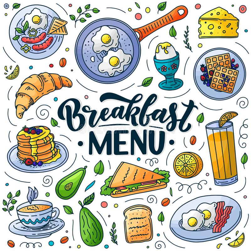 Элементы дизайна меню завтрака Иллюстрация doodle вектора Литерность каллиграфии и традиционная еда завтрака иллюстрация вектора