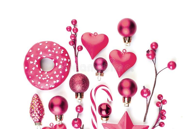 Элементы дизайна рождества изолированные на белой предпосылке Творческое украшение Xmas или Нового Года пинка стоковые изображения