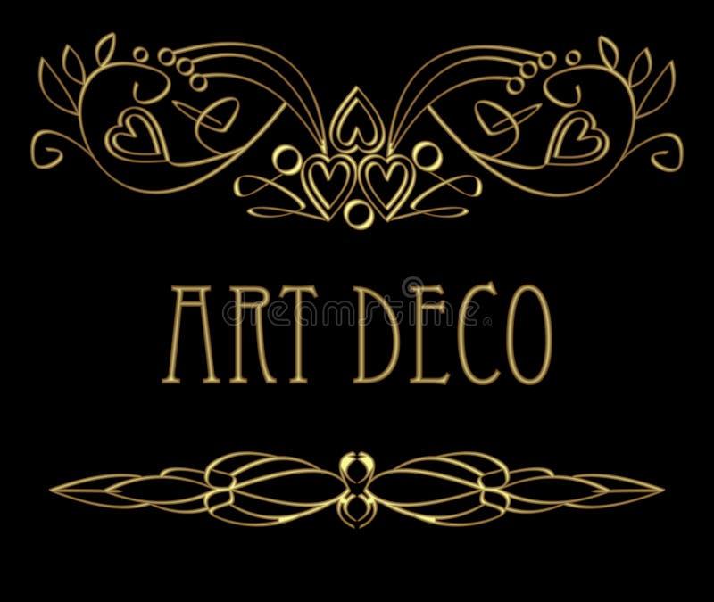 Элементы дизайна стиля Арт Деко каллиграфические золотые, курчавые картины с влиянием 3d иллюстрация вектора