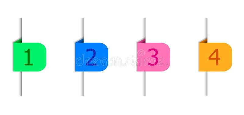 Элементы дизайна Infographic вектора, знамена с номерами, тенью бумажного края иллюстрация вектора