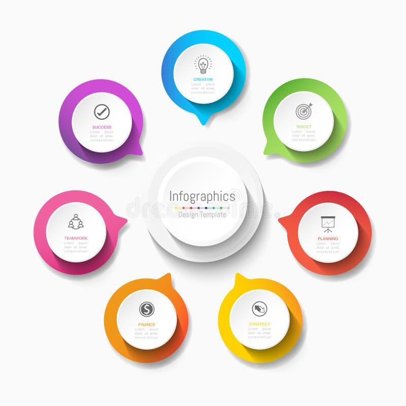 Элементы дизайна Infographic для ваших коммерческих информаций с 7 вариантами, частями, шагами, сроками или процессами вектор иллюстрация вектора