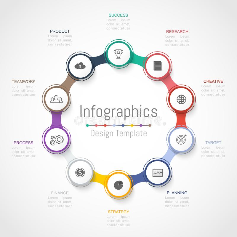 Элементы дизайна Infographic для ваших коммерческих информаций с 10 вариантами, частями, шагами, сроками или процессами вектор иллюстрация штока