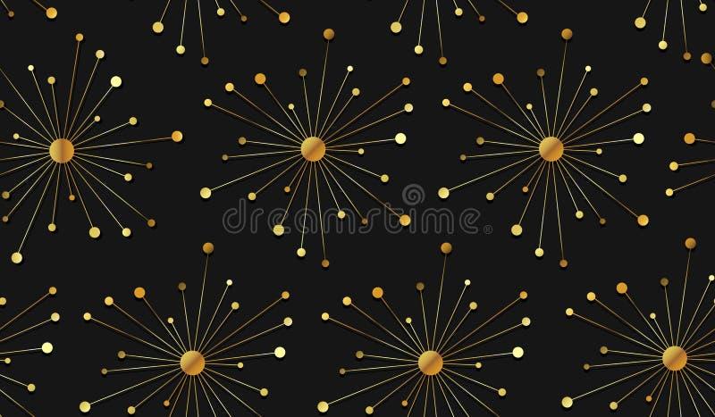 Элементы золота предпосылки вектора безшовные на черноте бесплатная иллюстрация