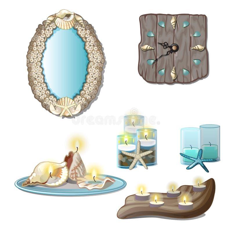 Элементы интерьера seashells и свечей чая на белой предпосылке Конец-вверх шаржа вектора бесплатная иллюстрация