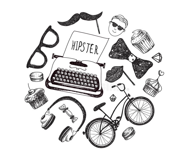 Элементы и значки infographics стиля хипстера вектора установили для ретро дизайна Велосипед, солнечные очки, усик, тип писатель иллюстрация вектора