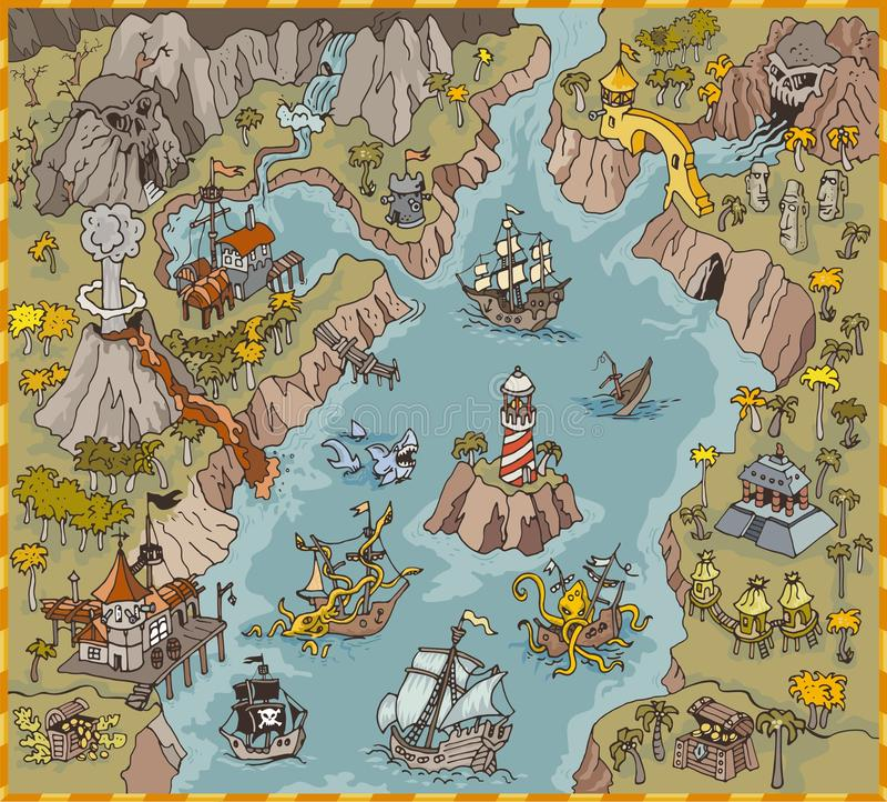 Элементы карты вектора пирата фантазии преследуют в красочных иллюстрации и притяжке руки области тайны иллюстрация вектора
