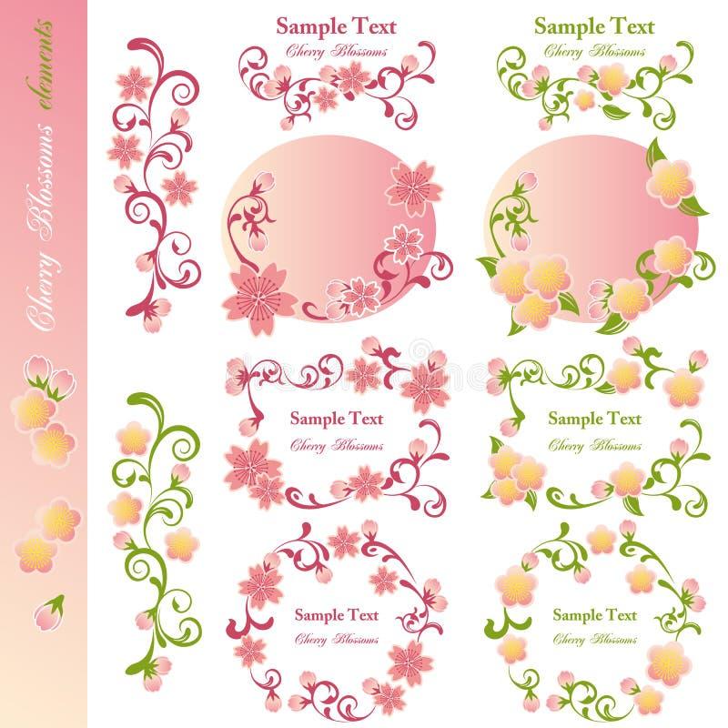 элементы конструкции вишни цветений иллюстрация штока