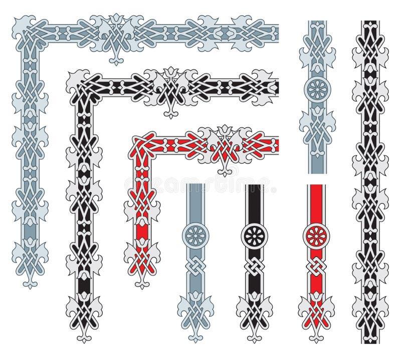элементы конструкции обрамляют богато украшенный иллюстрация штока