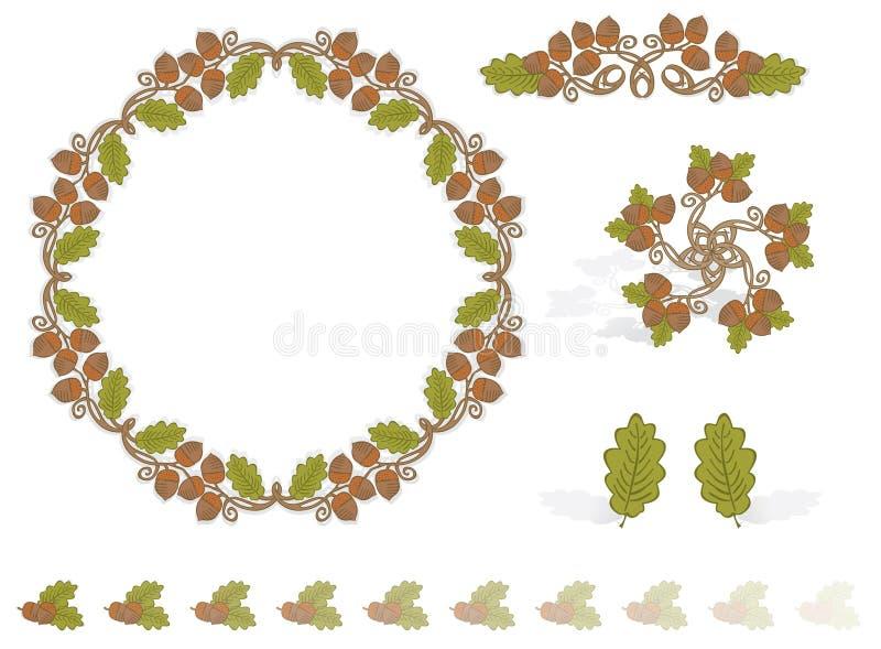 элементы конструкции осени жолудей бесплатная иллюстрация