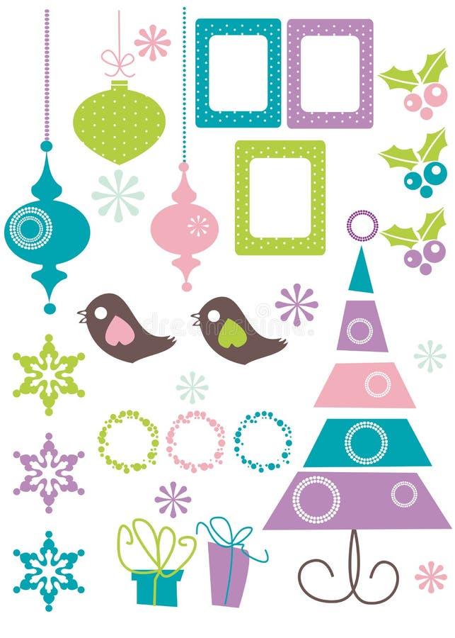 элементы конструкции рождества иллюстрация вектора