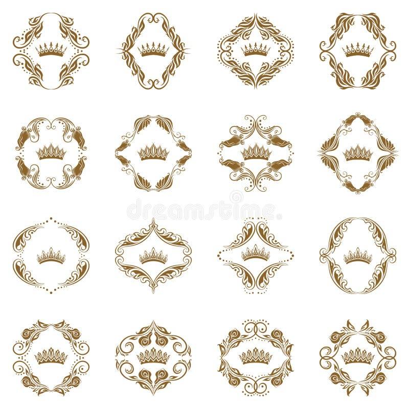 элементы кроны декоративные викторианские иллюстрация вектора