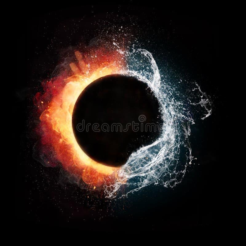 Элементы огня и воды в сферически форме иллюстрация вектора