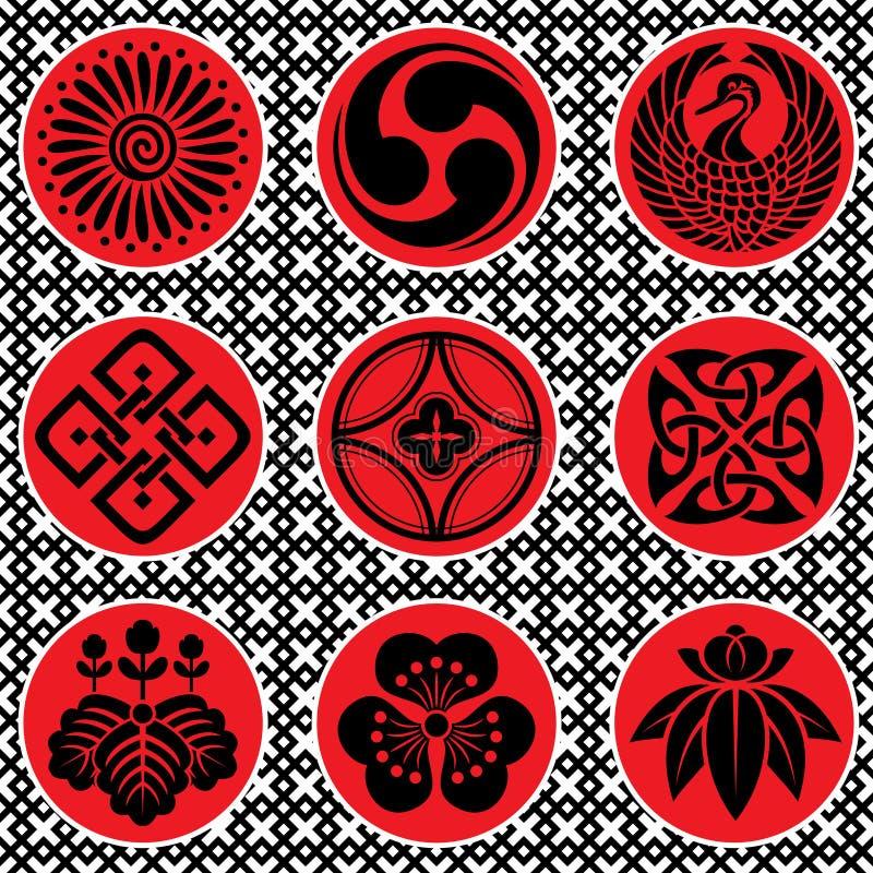 Элементы орнамента японии иллюстрация вектора