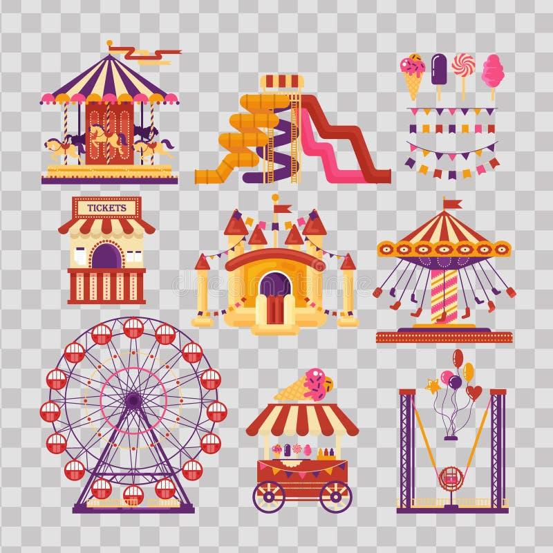 Элементы парка атракционов плоские с carousels, waterslides, воздушными шарами, флагами, раздувным замком батута, колесом ferris иллюстрация вектора