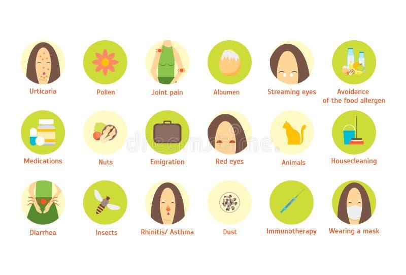 Элементы плаката карточки Infographic аллергии шаржа вектор иллюстрация штока
