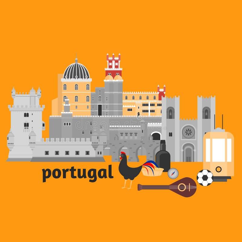 Элементы Португалии ориентир ориентира перемещения Плоская башня Belem значков архитектуры и здания, дворец Pena замка Sintra, мо бесплатная иллюстрация