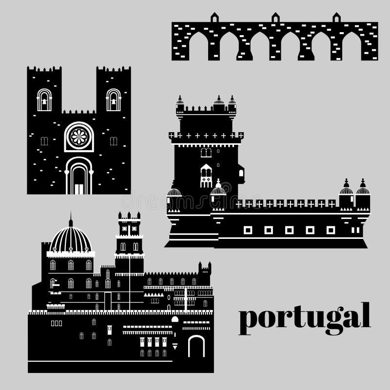 Элементы Португалии ориентир ориентира перемещения Плоская башня Belem значков архитектуры и здания, дворец Pena замка Sintra, мо иллюстрация вектора
