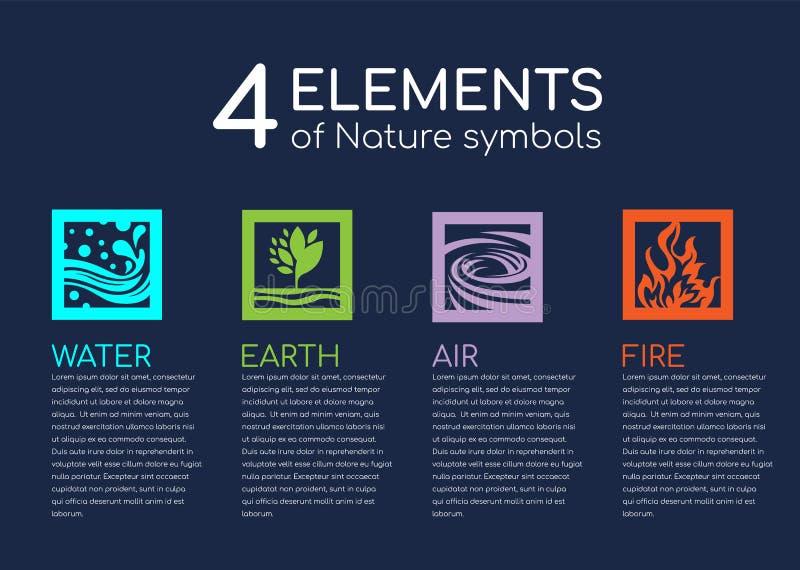 Элементы природы 4 symblos природы с водой, огнем, землей и воздухом в квадратном векторе рамки конструируют иллюстрация штока